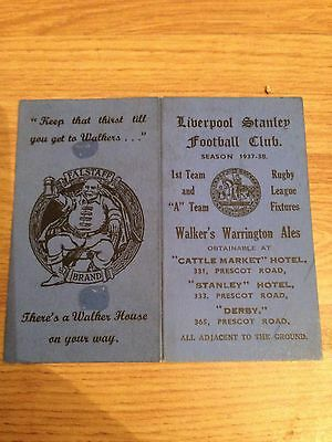 1937 rugby league Liverpool Stanley Football Club pocket fixture card + A team