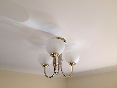 2 x 3 Bulb Ceiling Light Frosted Glass Gold