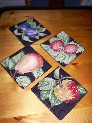 Vintage Coasters Tapestry 4 different fruit patterns - unusual with material