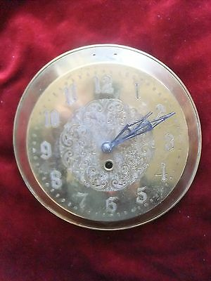 Antique Brass Clock Face British Made 8.5 Inches Diameter  Needs Repair