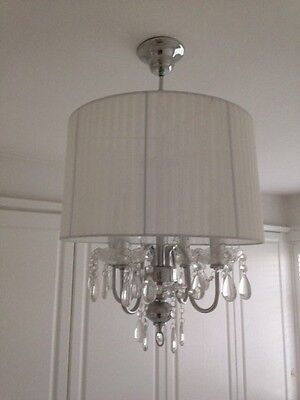 Crystal Droplet 4 Light Chandelier With White Ribbed Shade, White Ceiling Light