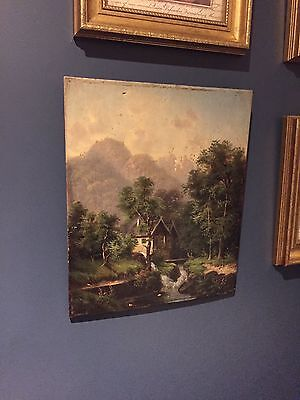 Antique 19th Century Oil On Board Painting Of A Mill Scene Unframed