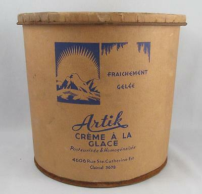 Rare Antique/vintage Artik Ice Cream Montreal,quebec Cardboard Container