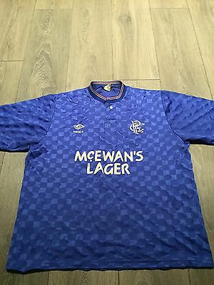 Rangers Home Shirt 1987/90 42 Chest Rare And Vintage