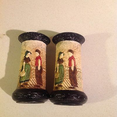 Art Deco Bretby Pair of Dutch Scene Pots,Stamped D2911 Made in England