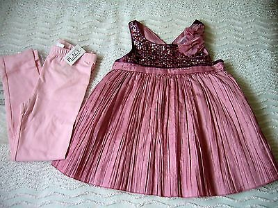 Next Signature Sequinned Party Top 5 Years & Bnwt Pink Leggings Childrens Place