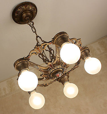1920's ANTIQUE VINTAGE CAST IRON ART DECO Ceiling Light Fixture CHANDELIER