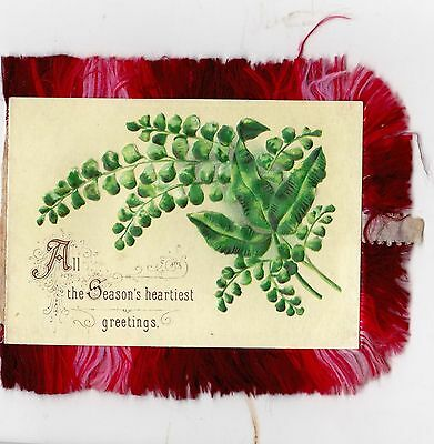 C19th CHRISTMAS & NEW YEARS GREETINGS CARD WITH SILK FRINGE