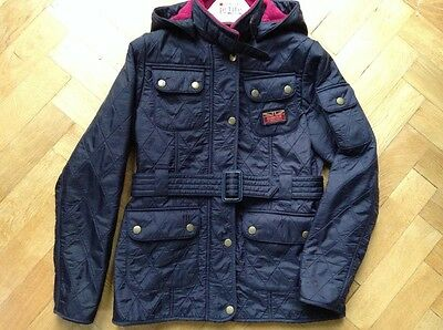 girls Barbour International hooded quilted jacket, Navy 10-11yrs