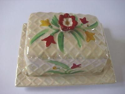 Vintage Wade Lidded Butter Cheese Dish--Hand Painted