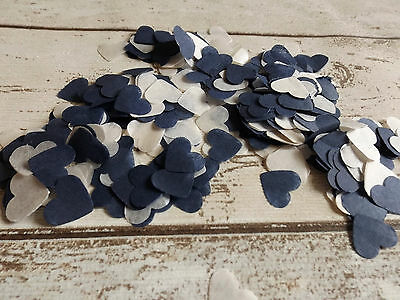 1000 vintage romantic tissue paper heart confetti Navy and Cream wedding