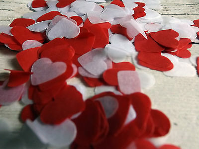 1000 vintage romantic tissue paper heart confetti white and Red wedding