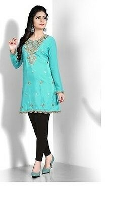Indian Kurta Kurti Designer Women Ethnic Dress Top Tunic Pakistani in  BLUE NEW