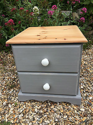 A Two Drawer Grey Painted Solid Pine Chest of Drawers /Bedside Table /Side Table