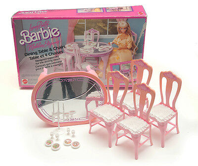 Boxed Rare Vintage 1987 Barbie Living Pretty Dining Table And Chairs by Matte