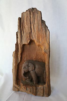 Antique African large elephant carving in hard wood