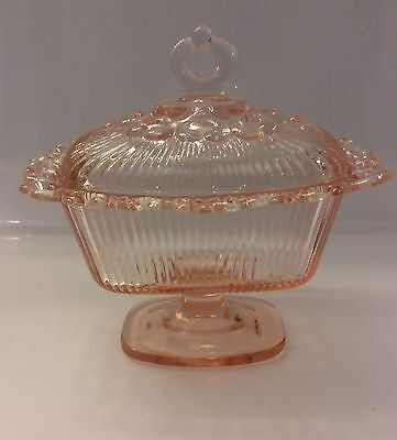 """Vintage 1930s Depression Glass """"Old Colony"""" Lace Edged Pink Candy Dish"""