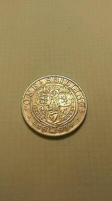 1897 Victoria Old Head .925 Silver Shilling  Collect / Filler Grade & Detail