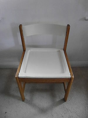 G Plan Upcycled Oak Dining Desk Chair Cream Painted Back & Seat
