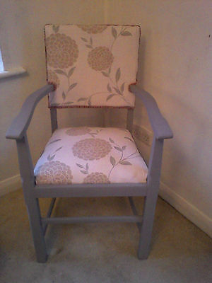 Vintage Shabby Chic Grey Painted Carver Arm Chair Laura Ashley Erin Back & Seat