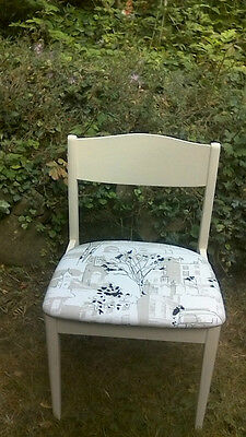 Upcycled Dining Desk Chair Cream Painted Frame Prestigious Brompton Road Seat