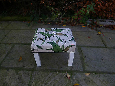 Upcycled Coffee Table Stool Arum Lillies Designer Archive Fabric Painted Legs