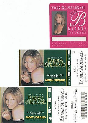 An Evening With Barbra Streisand Tickets & Staff Pass Lot Of 3 MGM Grand Rare