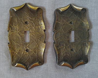 Vtg Amerock Antique Brass Carriage House Single Toggle Light Switch Covers (2)