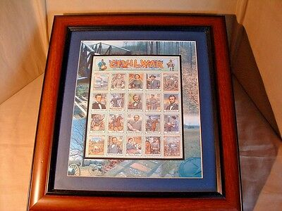 Usps Civil War Stamps, Framed Collectible, Official Post Office Issue
