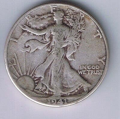 1941 P Walking Liberty Half Dollar Silver Coin 1/2 fifty cents 50 c WWII relic