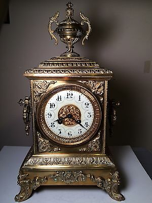 Outstanding Antique Victorian 19th Century Clock by Japy Freres In Solid Brass
