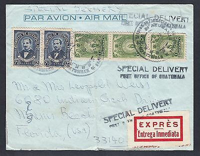 Guatemala 1968 Miami cover Florida US - Special Delivery - Many postmarks