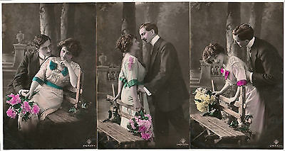 3 HAND TINTED EARLY RPPCs - SBW S. BLEUH of VIENNA & ROTOPHOT LOGO c.1905 FINE+