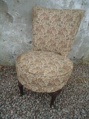 Vintage upholstered bedroom chair with cabriole legs and pad feet for project