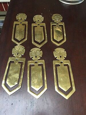 6 Solid Brass Finger Backplate Door Plate Push Plate  7 1/2 Inch Free Ship