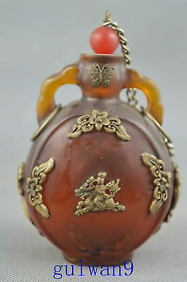 Collectible Old Amber & Miao Silver Carve Flowers & Kirin Exorcism Snuff Bottles