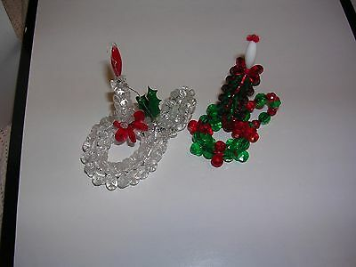Christmas beaded candle ornament and sitting item .. handmade - set of 2 EUC