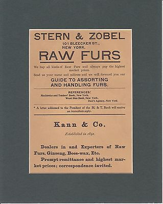 1902 Matted Vintage Magazine Ad Hunter Trader Trapper Stern & Zobel Raw Furs