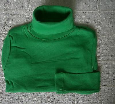 Vintage Stretch Polo-Neck Top - Age 12 - Green  - 100% Cotton - New