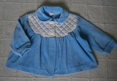 Vintage Velour Baby Jacket - 6-12 months - Blue - Quited Yoke - New