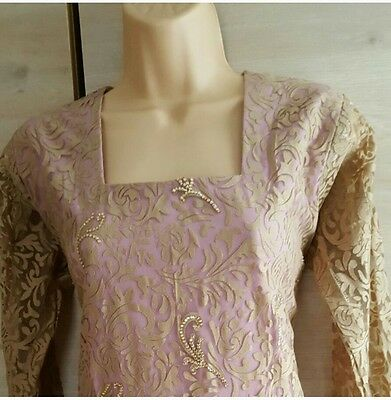 Lilac and nude kameez with churidar suit