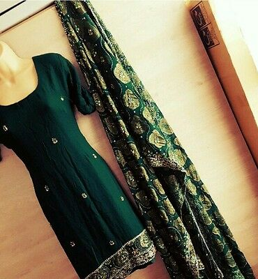 Dark mehndi green and gold kameez with churidar FREE POSTAGE!!