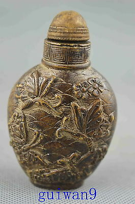 Collectible Old Alabaster Carving Blooming Flowers & Butterfjy rare Snuff Bottle