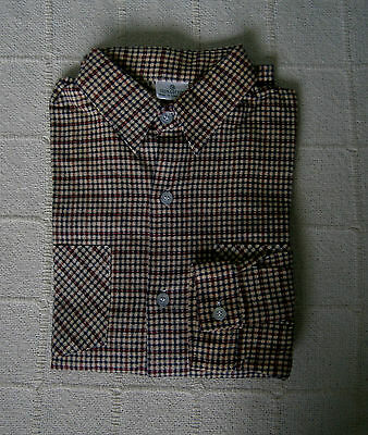 Vintage Boys Shirt - Age 12 -Approx - Red/Navy Small Check - Brushed Cotton-New