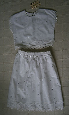 Vintage Skirt & Top Set - Age 9-10 - White Linen Look New