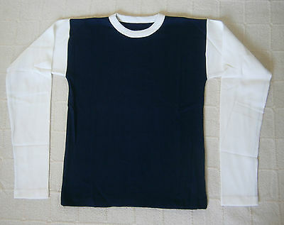Vintage Long-Sleeve Stretch Top - Age 16-Teens - Navy/White - Ribbed  - New