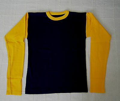 Vintage Long-Sleeve Stretch Top - Age 16-Teens - Navy/ Yellow - Ribbed  - New