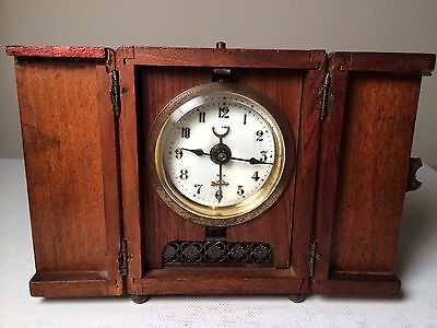 Small Antique/vintage Hac Rare Wooden Carriage Clock