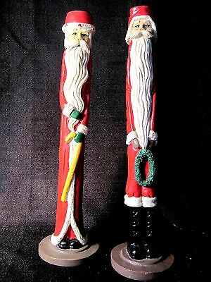 2 Vintage Christmas Skinny Pencil Santa Candle Holders 1 W/Candy Cane 1 W/Wreath