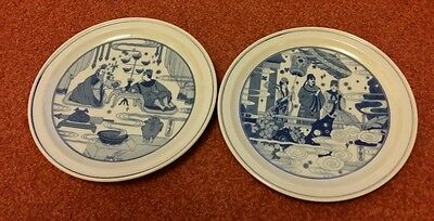 A pair of Chinese old blue and white plates